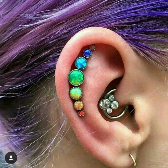 2018 newest hot sale 16gauge(1.2mm) stainless steel zircon tragus helix cartilage conch daith piercing earring monochrome