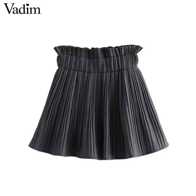 4aaa643d6b2 Vadim women vintage plaid pleated shorts skirts Houndstooth elastic paperbag  waist ladies casual shorts pantalones cortos BA173