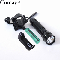 Tactical T6 LED Flashlight Torch 1 Modes LED Flash Light 18650 Lanterna Hunting With Magnetic X Gun Mount Holder Battery charger
