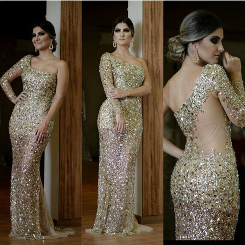 Luxury Mermaid   Evening     Dresses   2019 One-Shoulder Long Sleeve Sequin Crystal Beading Sweep Train Formal Prom   Dresses   xq02