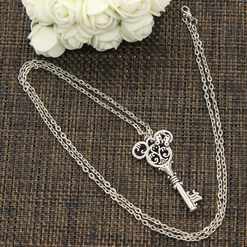 New Fashion Tibetan Silver Color Pendant Vintage Mouse Key Choker Charm Short Long DIY Necklace Factory Price Handmade Jewelry 2