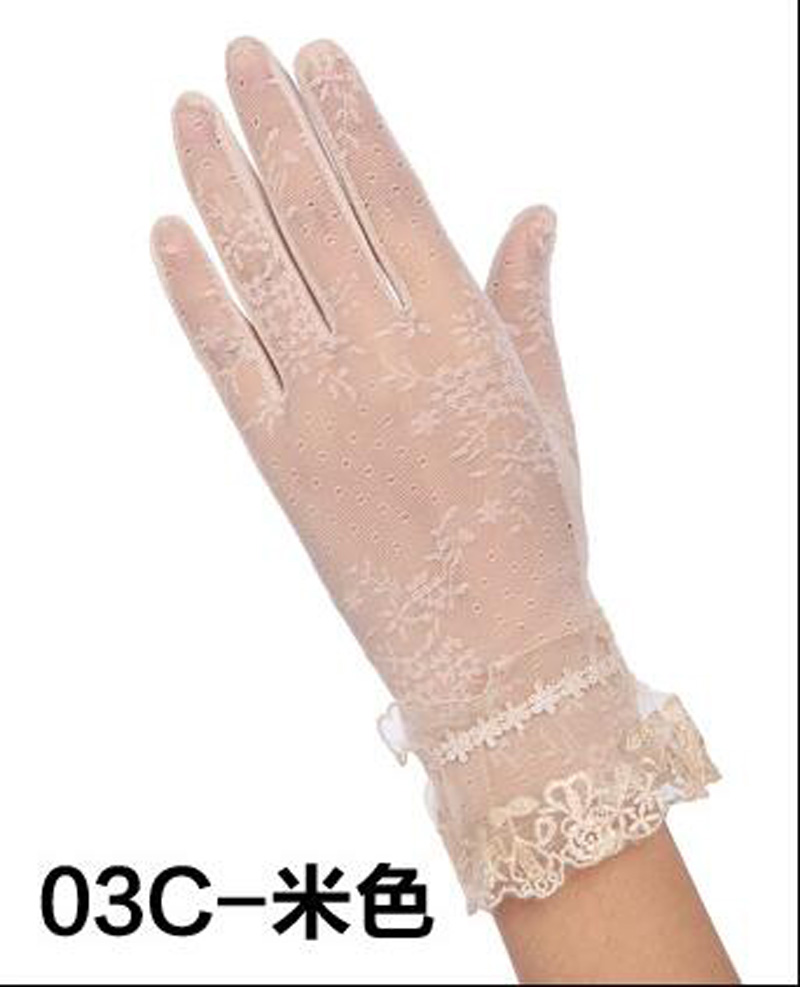 HTB1I26ORFXXXXbEXXXXq6xXFXXXb - Sexy Summer Women UV Sunscreen Short Sun Female Gloves Fashion Ice Silk Lace Driving Of Thin Touch Screen Lady Gloves G02E