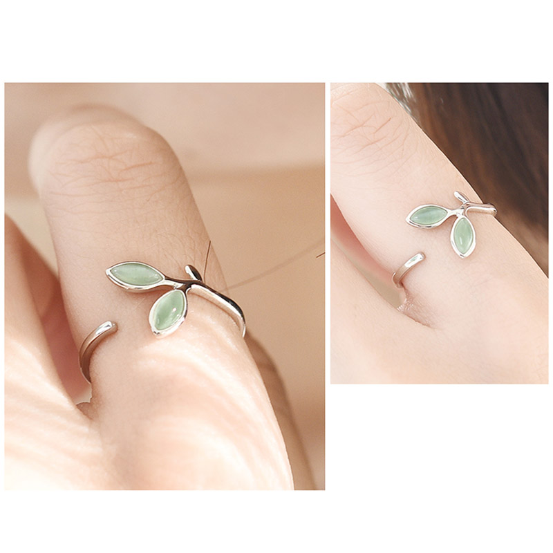 LNRRABC 1PC Chic Hot Sale Silver Green Opal Open Rings Alloy Women Adjustable Exquisite Allergy Free Gifts Graceful  Leaves Buds