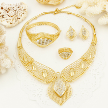 2016 new pattern big Necklace earrings ring bangle sets fashion dubai african 18K gold plated jewelry set