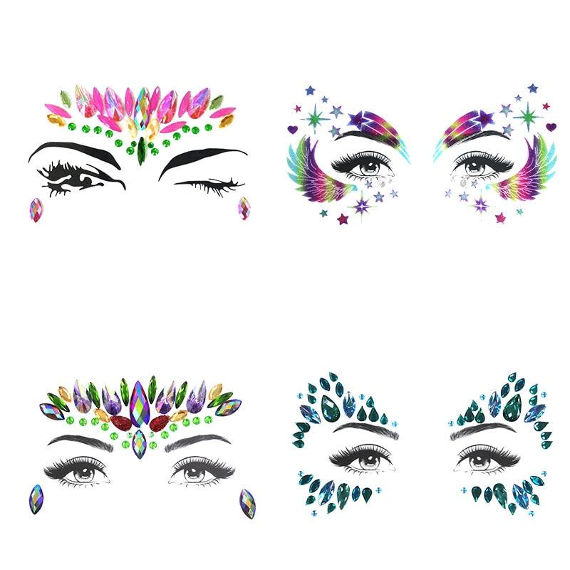 Temporary Rhinestone Glitter Tattoo Stickers Face Jewels Gems Festival Party Makeup Body Jewels Flash Fake Temporary Tattoos
