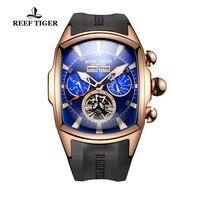 Риф Тигр/RT Большой Спорт мужские светящиеся часы аналоговый Tourbillon часы Лидирующий бренд синий розовое золото часы relogio masculino RGA3069