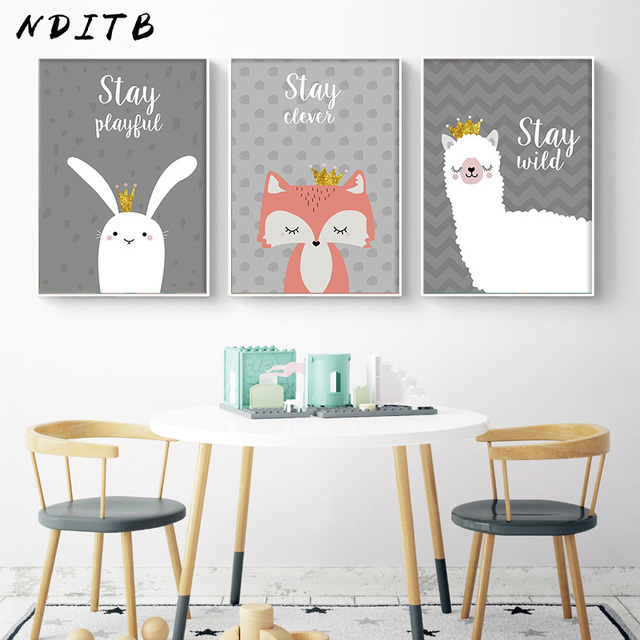 Nditb Cartoon Woodlan Animal Canvas Poster Llama Fox Wall Art Nursery Print Painting Picture Baby