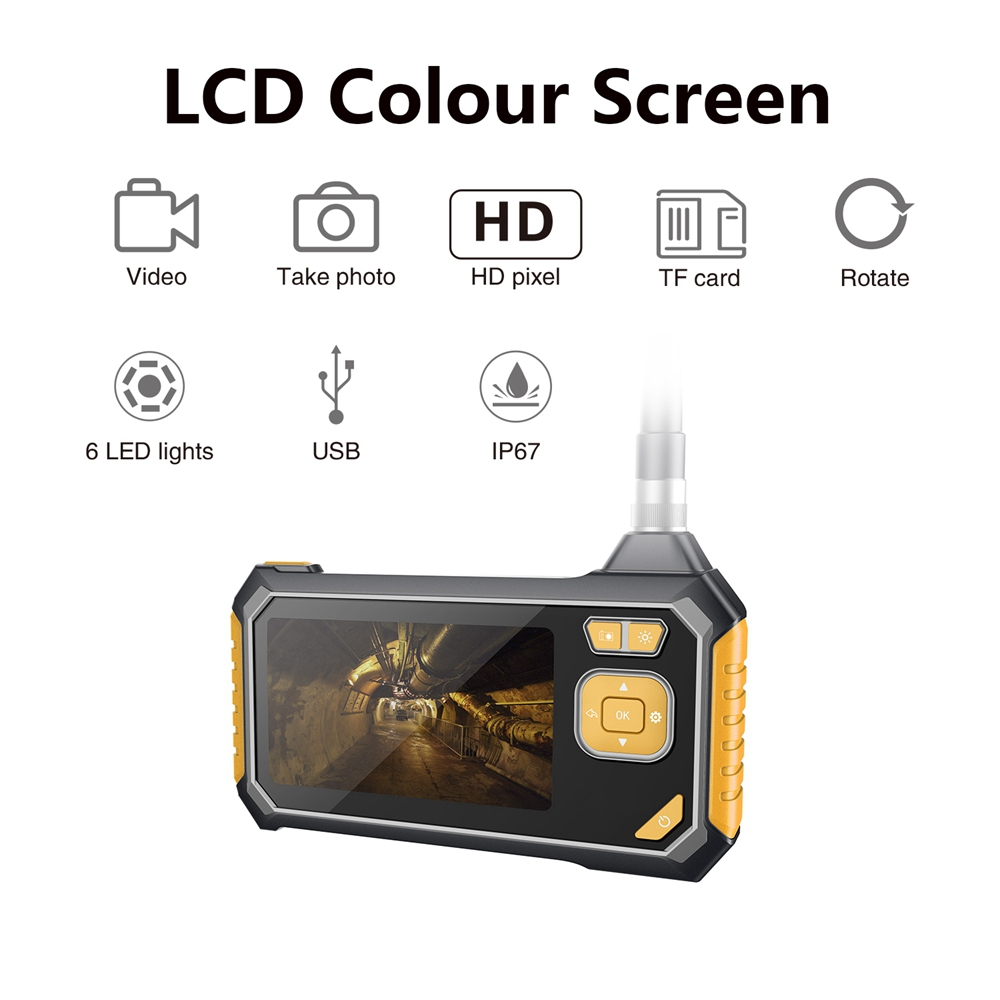 1080 p 4.3 Polegada lcd handheld digital endoscópio cobra câmera endoscópio à prova dhard água dura para casa industrial endoscópio com 6 leds