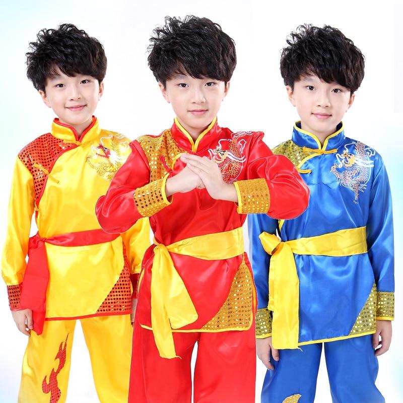 Children Long Sleeve Taekwondo Dobok Wushu Costume Kimono Judo Clothing Chinese Kung Fu Suit Tai Chi Martial Art Uniform