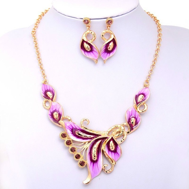 76eca3093aa46 Topkeeping Brand Women Fashion Gold Color Filled Austrian Crystal Enamel  Jewelry Sets Flower Chain Necklace Earrings Sets