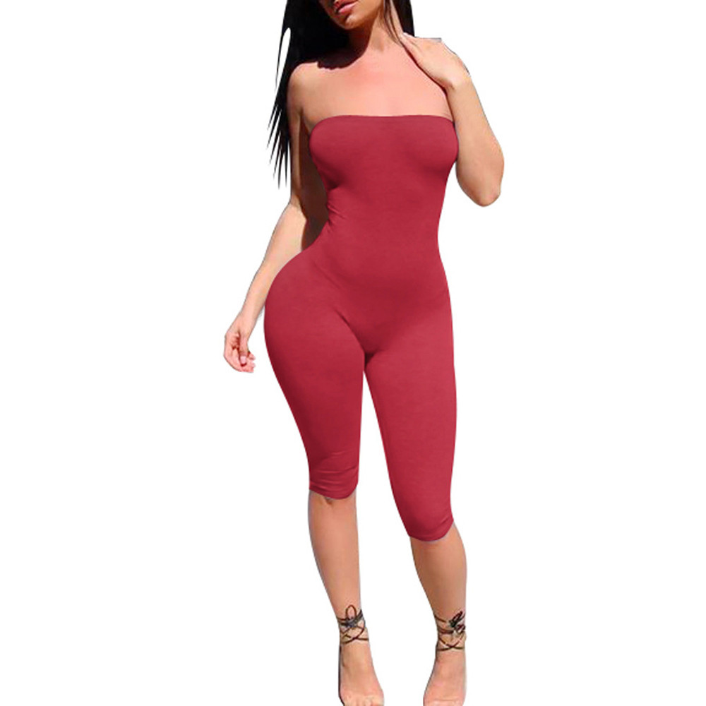 Free Ostrich Women Ladies Clubwear Strapless   Jumpsuit   Playsuit Black White Bodycon Party   Jumpsuit   Rompers Wide Legs Pants D1335
