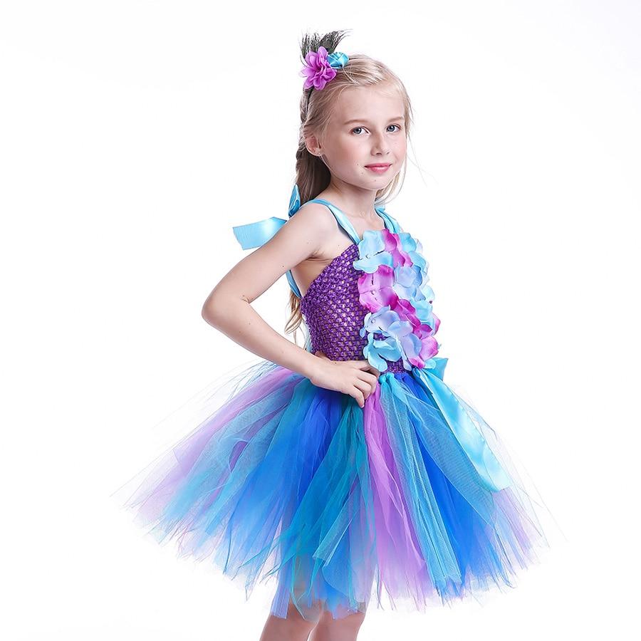 Girls Princess Peacock Flower Tutu Dress Children Handmade Purple and Blue Tulle (9)
