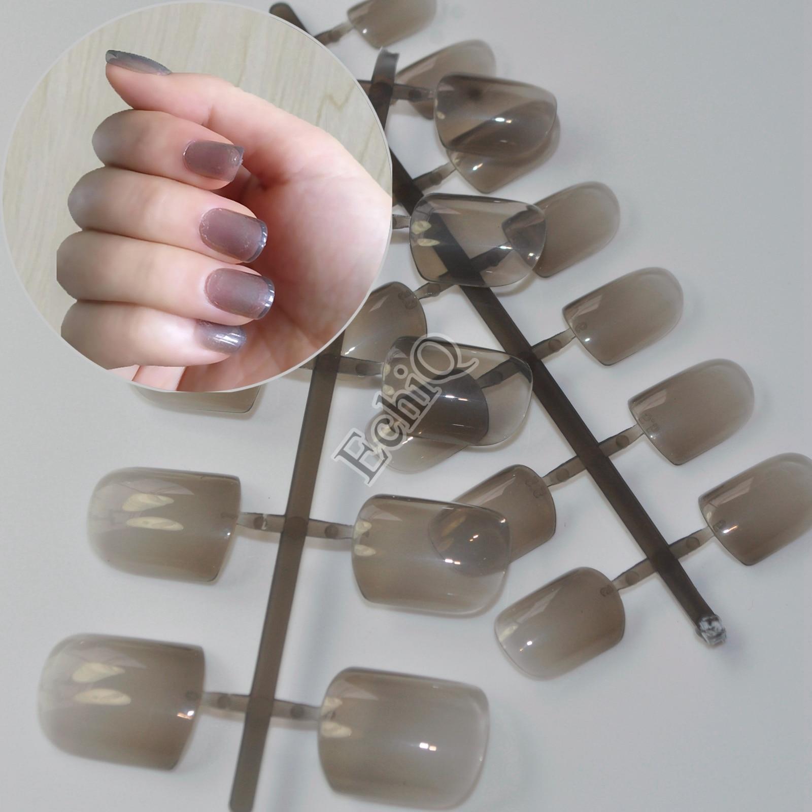 24pcs Clear Grey Medium Flat Fake Nails Acrylic Full Wrap Nail Tips ...