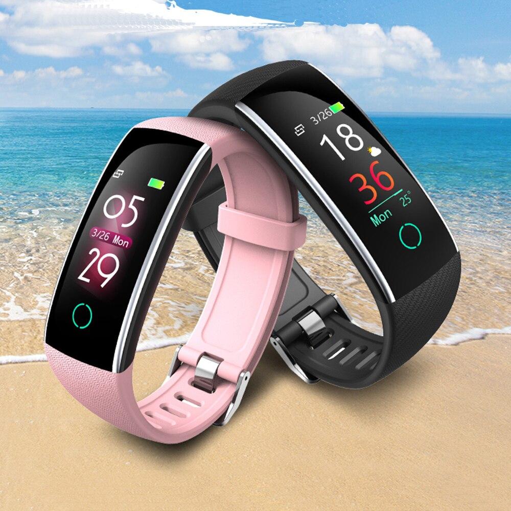 Uhoofit SC20 Bluetooth IP68 impermeable reloj inteligente mujer, Monitor de ritmo cardíaco rastreador de ejercicios inteligente para Android IOS