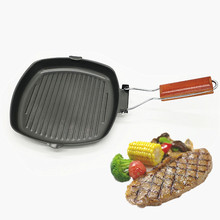 24x24 CM Steak Frying Pan Refined Iron Pot Folding Thickened Non-stick Grill Cooking Barbecue Outdoor Camping Cookware