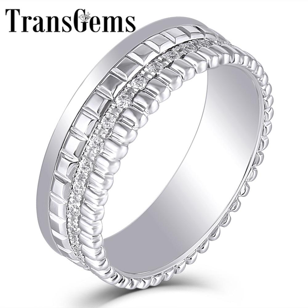 Transgems 18K białe złoto 1.2mm F kolor Moissanite Wedding Band dla kobiet szerokość pasma 6mm Fine Jewelry rocznica prezenty ślubne w Pierścionki od Biżuteria i akcesoria na  Grupa 1