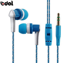EDAL 3.5mm In-Ear Stereo Earbuds Braided Rope Line Wired Earplugs Earphone Headset Mic For Cell Phone MP3 Computer(China)
