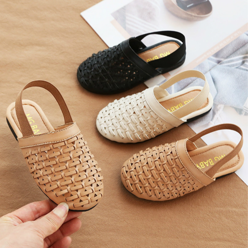 Sandals With Knitted Pattern Kids Shoes Princess And Flat Heel Mini Melissa Shoes Antiskid Sole Leisure For Girls Summer Sandals