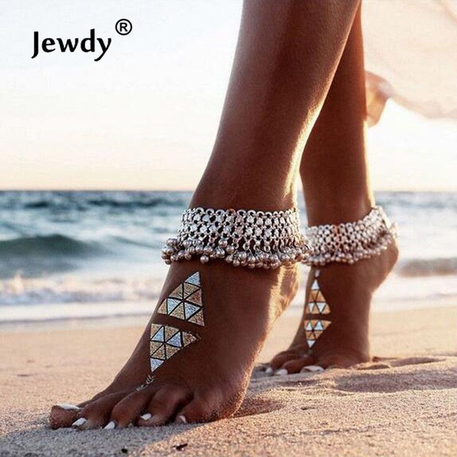 Boho Anklets Bohemian Silver Color Anklet Chain Bell Beads Ankle Bracelet Foot F