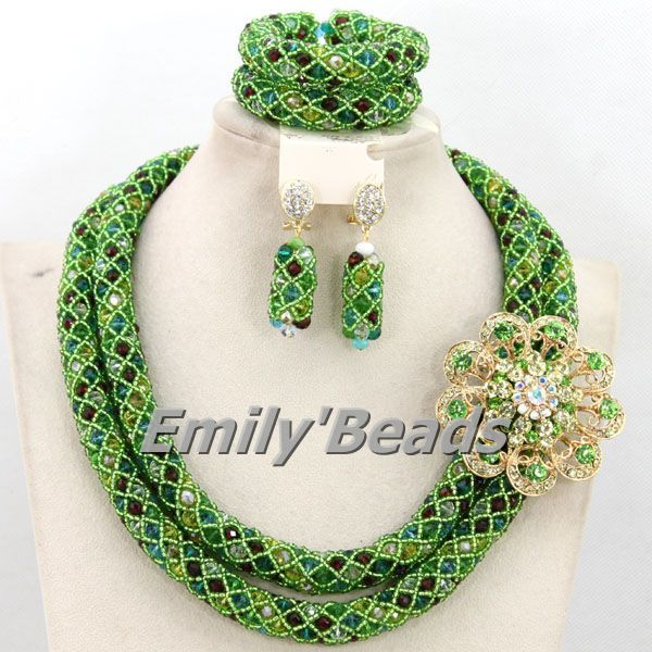 Fabulous Costume African Crystal Beads Jewelry Set Nigerian Wedding Necklace Jewelry Set Wholesale Free Shipping AMJ144 цены онлайн