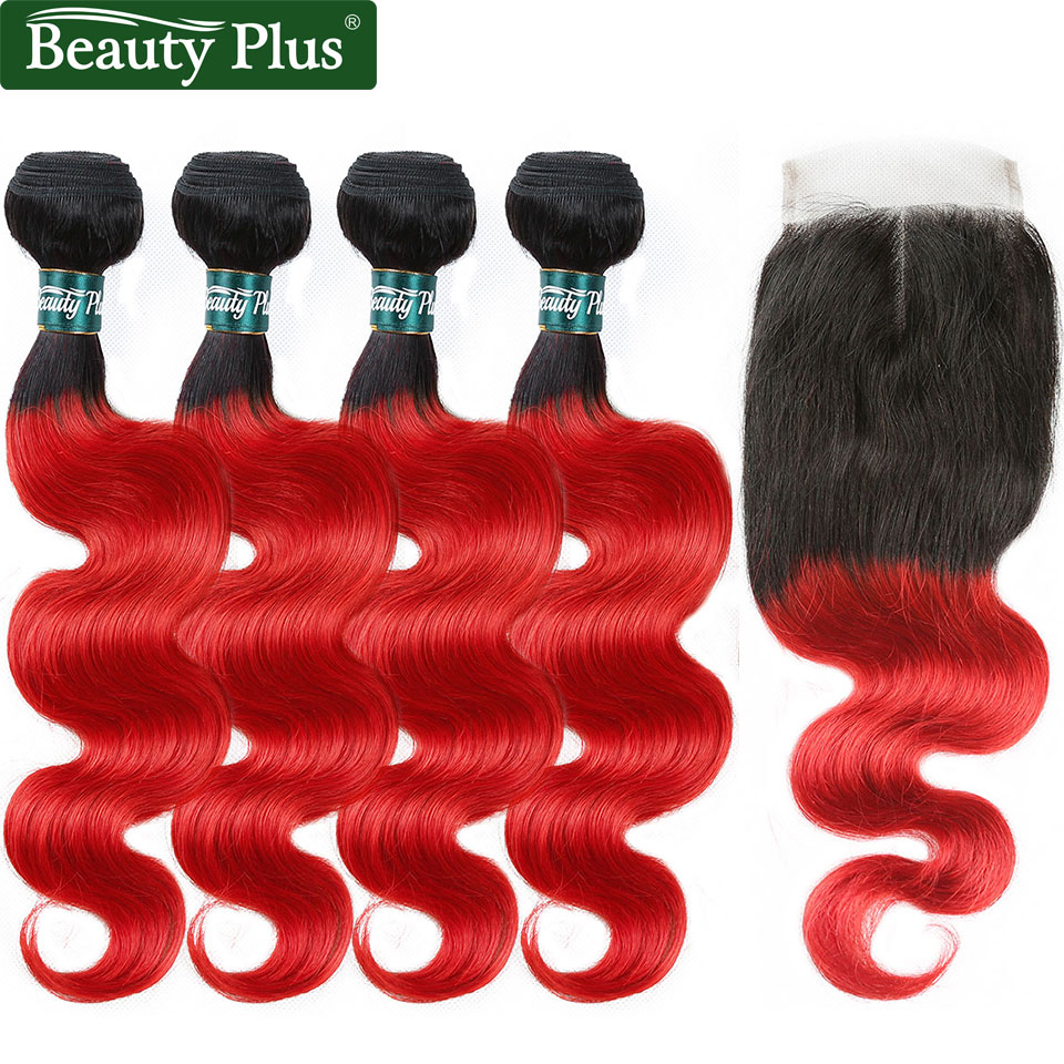 Beauty Plus Red Ombre Human Hair Bundles With Closure 2 Tone Non Remy Hair Pre Colored 1B Red Body Wave Hair Weave And Closures