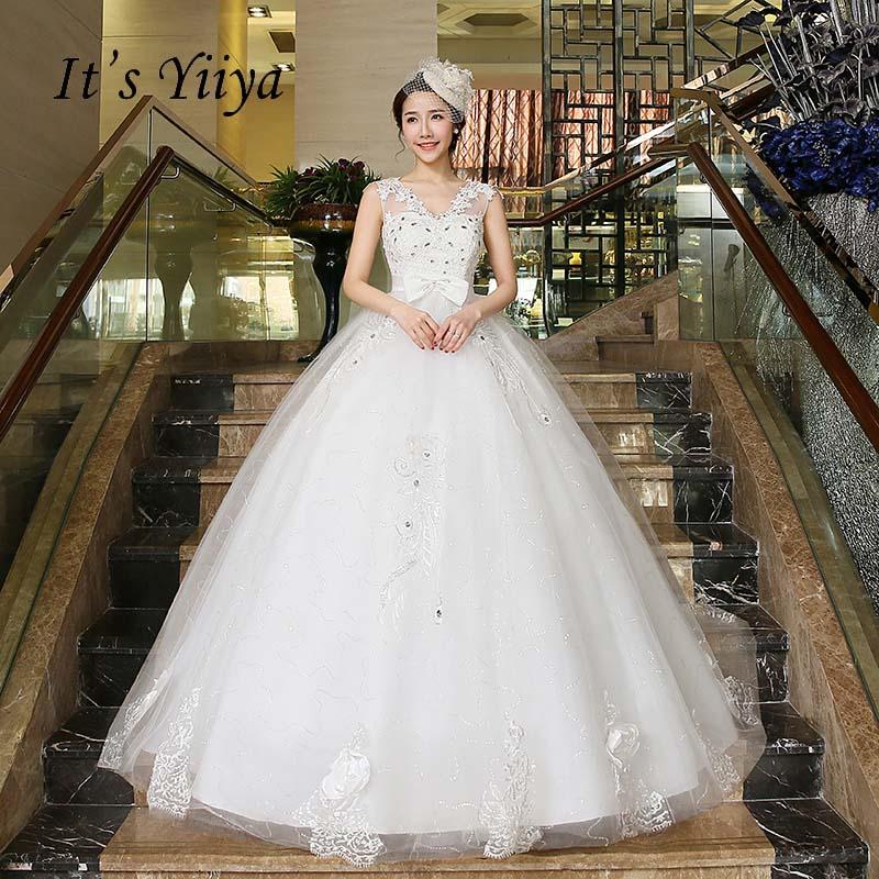 Free Shipping Vestidos De Novia Real Photo White V-neck Transparent Lace Wedding Dresses Bow Waist Bride Dress Ball Gowns HS218