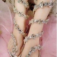 TINGHON Summer Luxurious Gladiator Sandals Women Flat Sandals Snake Punk Rhinestone Flat Heel Women Sandals Wedding