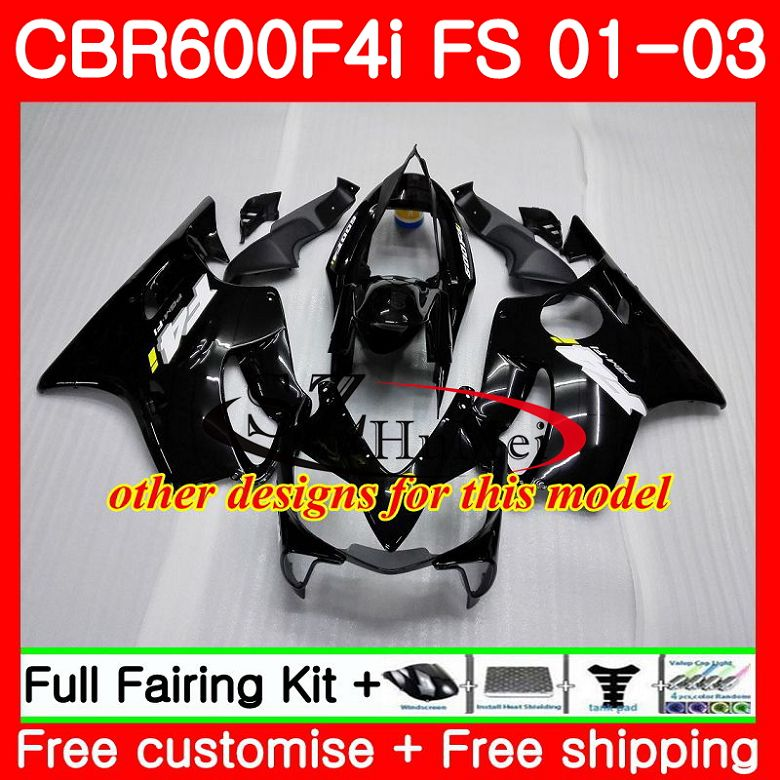 Cuerpo para HONDA CBR 600 F4i CBR 600F4i CBR600FS 600 FS Venta caliente blk 48SH19 CBR600 F4i 01 02 03 CBR600F4i 2001, 2002 de 2003 carenados - 2