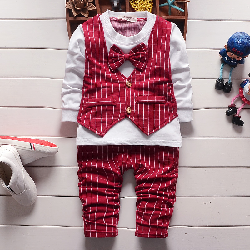 British style Spring sets baby boy clothing new newborn baby plaid suits 2pcs long sleeve pullover T-shirt with tie+pants 2016 baby boy sets new style autumn spring baby clothing sets 2pc suits red plaid dark blue blazer infant set boys suits blazers
