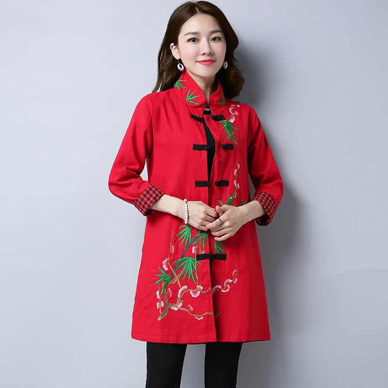 Chemise Lâche Lin Printemps Bouton Style Chinois Red xl Longue Main blue Vêtements M Nouveauté Rouge Motif Broderie Femmes Blouse XHfww