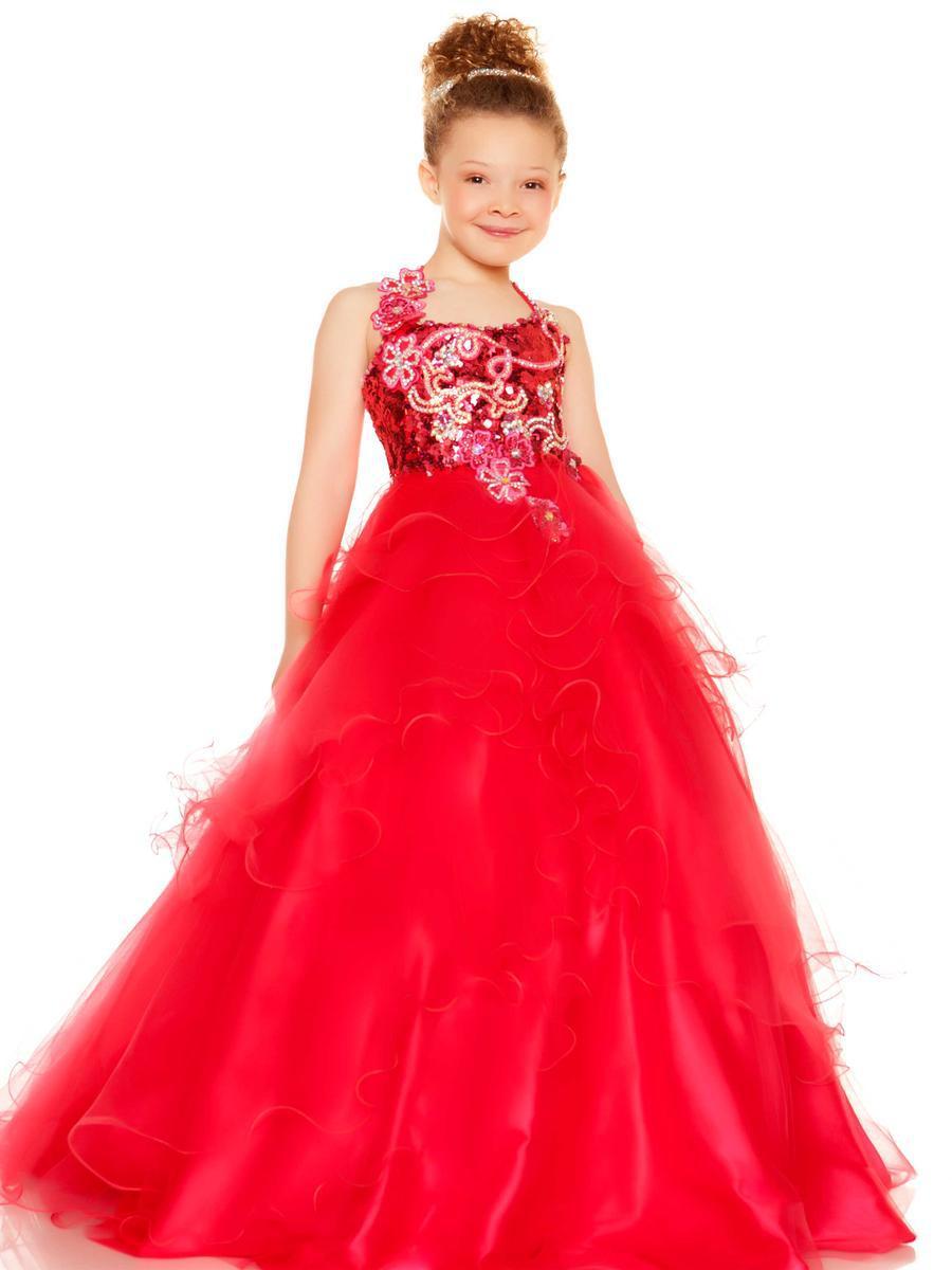 Red Kids Evening Dress 2015 Cheap Flower Girls Pageant ...