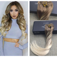 Full Shine Long Straight Human Hair Brazilian Clip in Hair Extensions TwoTone Ombre Clip in Remy Balayage Hair Color 8 60