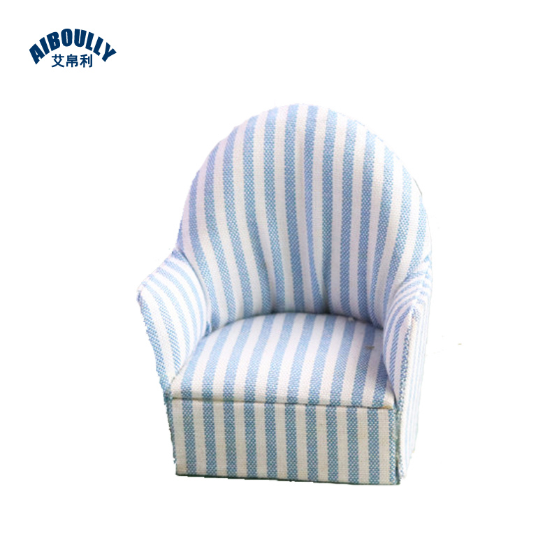 US $5.06 |1 Set 1:12 Dollhouse Miniature Mini Toys Blue Striped Sofa Single  Soft Sofa with Pillow Cushion Dollhouse Model Accessories-in Doll Houses ...