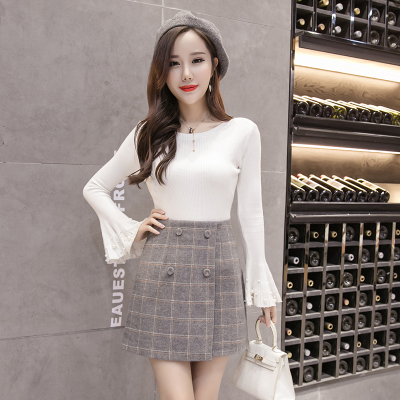 2018 autumn and winter new female half-length A word skirt retro high-waisted plaid thick woolen skirts