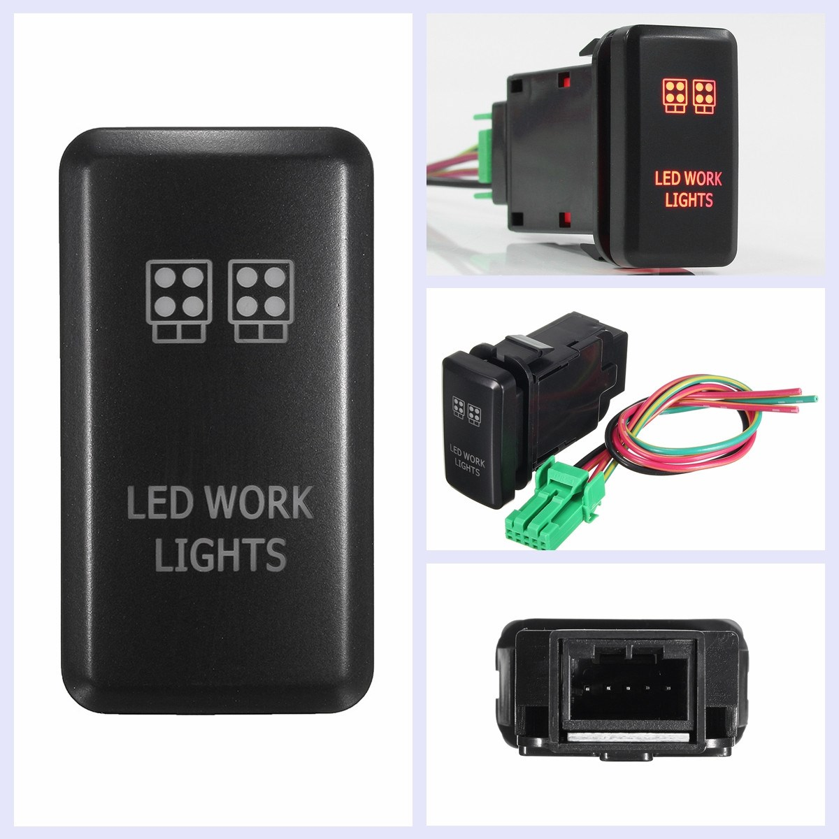 12V Red LED Work Lights Push Button Switch For Toyota Fortuner Hilux Tacoma 2005-2011