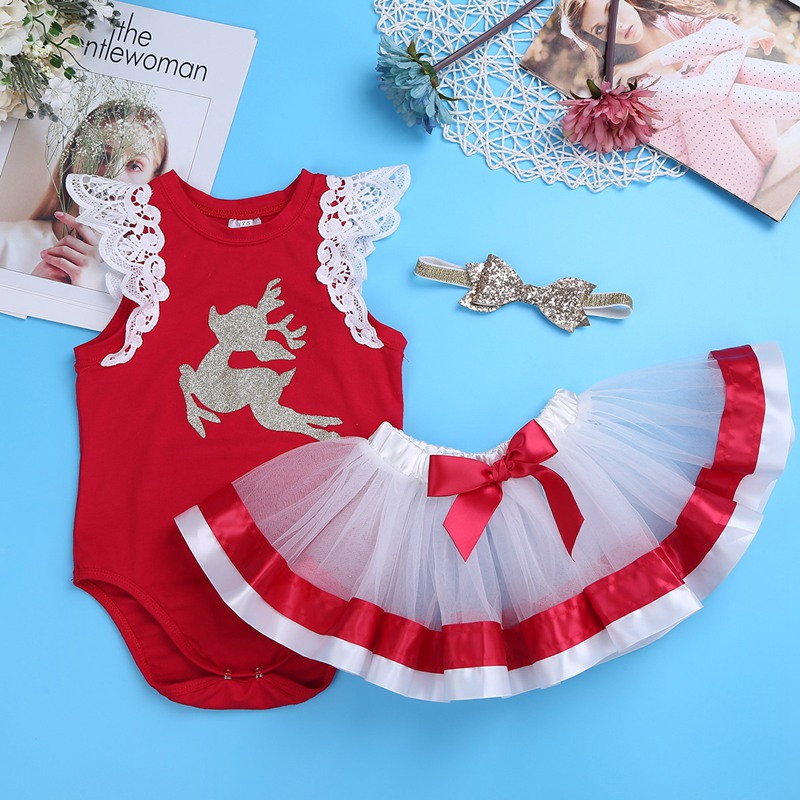 2017 Newborn Christmas Baby Costumes Clothes Infant Toddler Baby Girls My First Christmas Outfits Newborn Christmas Romper Set newborn baby girl my first christmas tops romper skirt headband clothes outfits