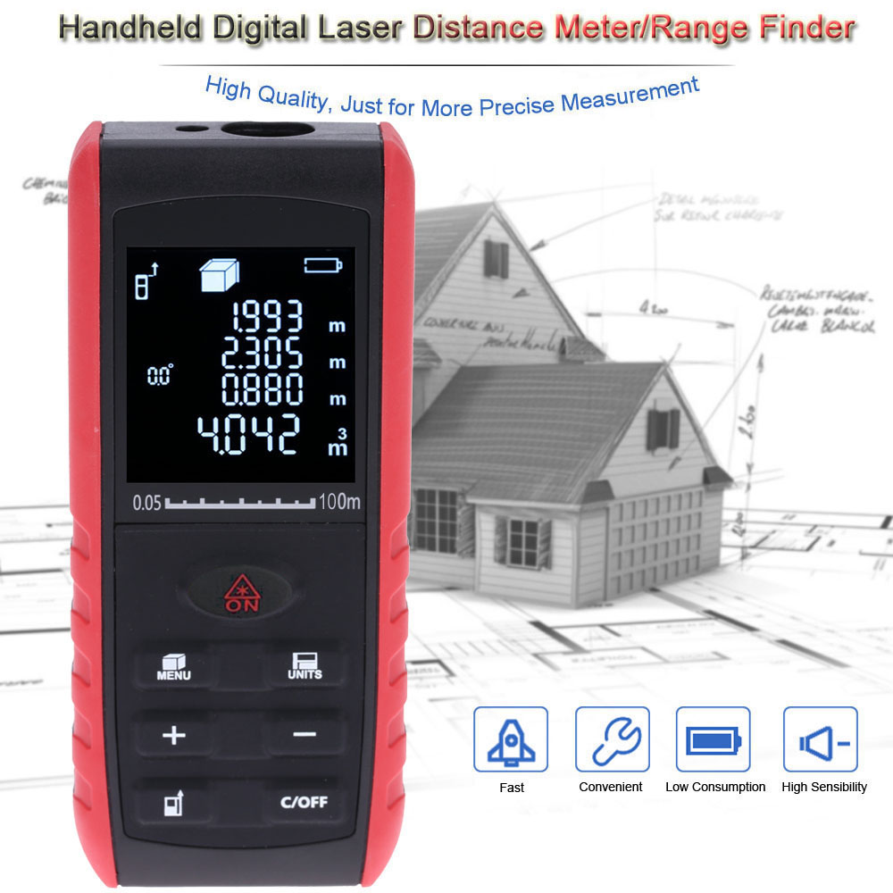 40m Portable Digital Laser Distance Meter Range Finder Area Volume Measurement Handheld with Angle Indication ms6450 ultrasonic range finder laser distance meter length area volume measurer