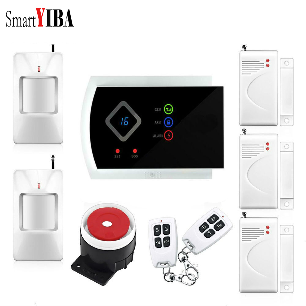 SmartYIBA APP Control Voice Prompt GSM Security Alarm System for Home Security English/Germany/Italian/Panish menu For Option gsm alarm system with multi language english german italian dutch menu for option home security 7 inch touch screen home alarm