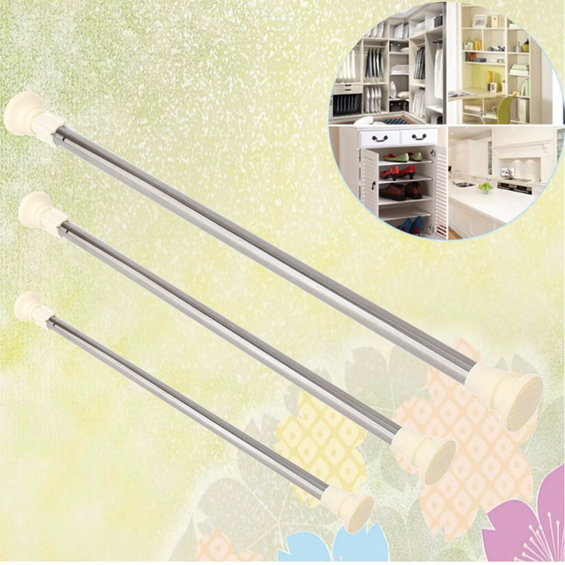 New Stainless Steel Adjustable Curtain Rod Extendable Spring Tension Curtain Rod Pole Window