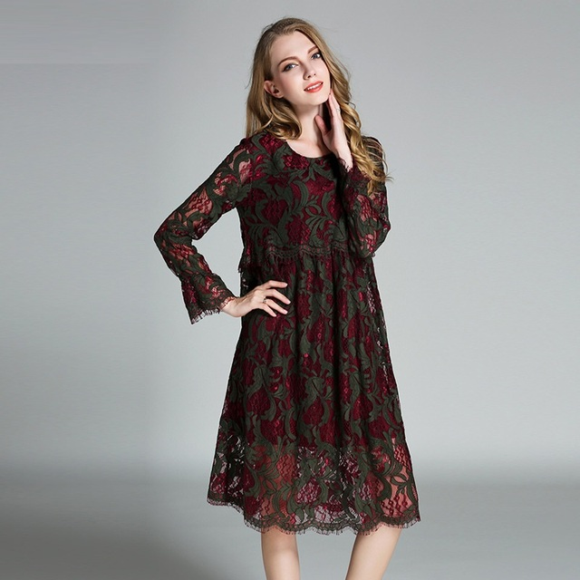 New 2017 Spring Women Plus Size Empire Lace Dress Long Sleeves Elegant Loose Cute Ball Gown
