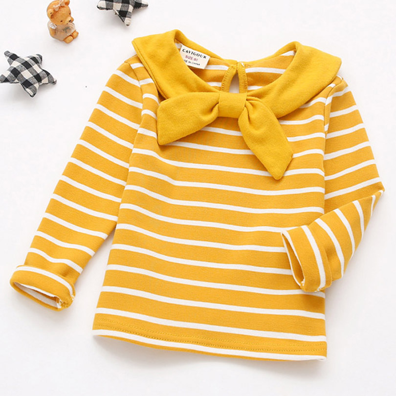 цены на Children Clothes 2018 Spring New Baby Girls T Shirt Cotton Long Sleeve Girls Tee Tops Sailor Collar Striped T Shirt Toddler 0-5Y в интернет-магазинах