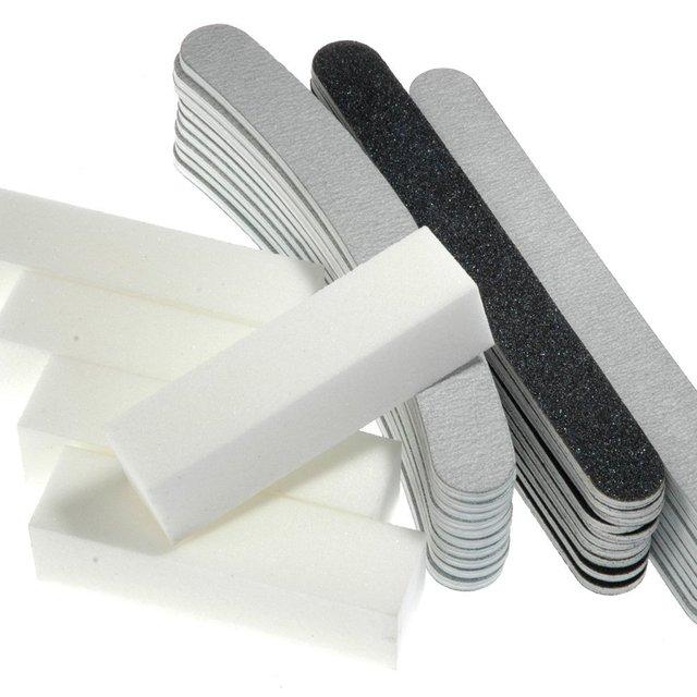Professional 35pcs 100/180 a set of Nail Files and Buffers Sandpaper Slim For Nail art Manicure Kit Set