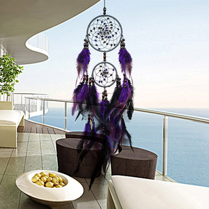 Purple Dream Catchers Feather Crafts Wind Chimes Handmade Indian Dreamcatcher Net for Wall Hanging Car Home Decor