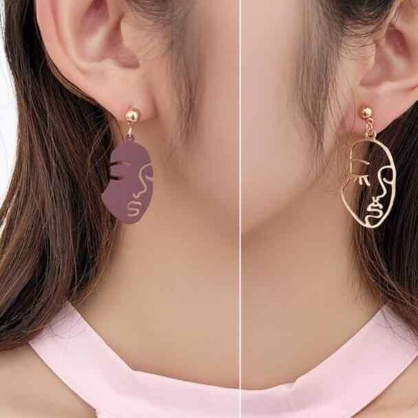 2018 Новая мода полое лицо/рука форма большой круг заявление серьги для женщин Спиральные серьги ювелирные изделия абстрактного искусства
