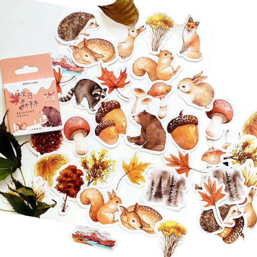 46 unidades/pacote kawaii outono floresta adesivo bonito animais mini papel adesivo decoração diy ablum diário scrapbooking etiqueta