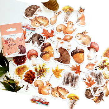 46 unids/pack Kawaii otoño pegatina de bosque animales lindos Mini pegatina de papel para decoración DIY abllum álbum de recortes diario etiqueta adhesiva