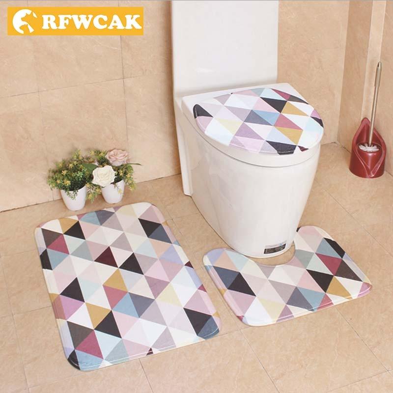 3Pcs Bathroom Non-Slip Geometric Net Pedestal Rug+Lid Toilet Cover+Bath Mat