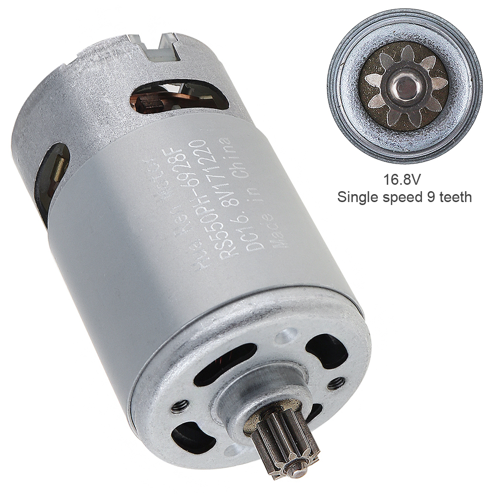 RS550 16.8V 13500 RPM DC Motor with Single Speed 9 Teeth and High Torque Gear Box for Electric Drill Screwdriver Power ToolsRS550 16.8V 13500 RPM DC Motor with Single Speed 9 Teeth and High Torque Gear Box for Electric Drill Screwdriver Power Tools