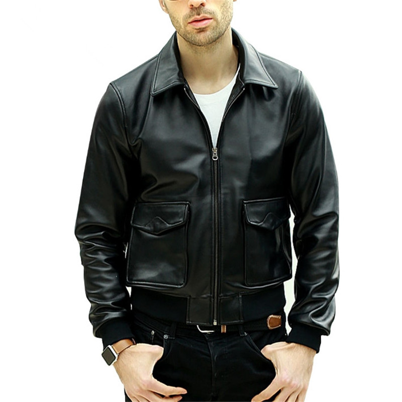 Male Spring Autumn genuine leather real lambskin motorcycle biker pilot black silm jackets Fashion coats
