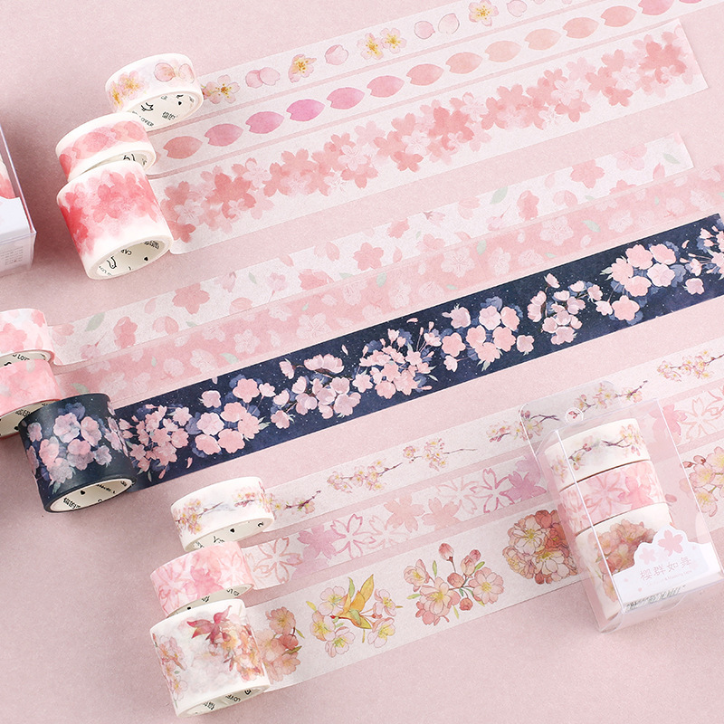 4 Pcs/pack Cherry Sakura Bullet Journal Washi Tape Set DIY Scrapbooking Sticker Label Masking Tape School Office Supply